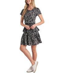 cece printed ruffled dress