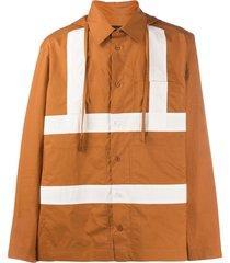 craig green stripe detail hooded shirt - orange