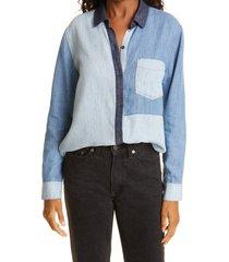 rails ingrid colorblock chambray shirt, size medium in patchwork denim at nordstrom