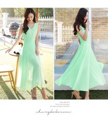 pf079 elegant long chiffon swing dress, high waist,size s-2xl,green