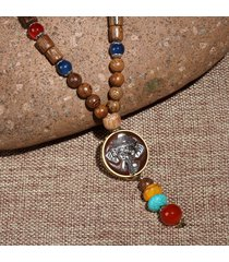 nepal collana buddista tibetano in perline di legno collana di agata di fiori di elefante collana lunga etnica