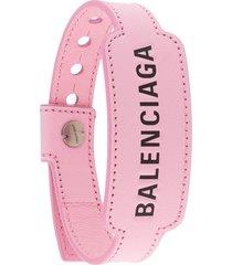 balenciaga logo-debossed cash bracelet - pink