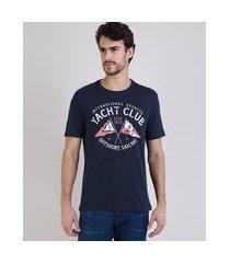 "camiseta masculina yatch club"" manga curta gola careca azul marinho"""
