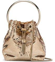 jimmy choo bon bon sequin-embellished tote bag - gold