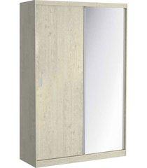 guarda roupa 02 portas de correr c/ 1 espelho 797e1 marfim areia m foscarini