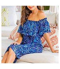 batik rayon off-shoulder dress, 'bamboo batik' (indonesia)