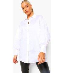 oversized katoenen blouse met ballonmouwen, ivory