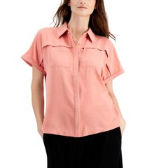 alfani button-front short-sleeve top, created for macy's