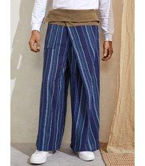hombres retro rayas impreso anudado ajuste suelto pierna recta causal pantalones