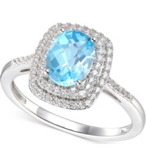 blue topaz (1-3/8 ct. t.w.) & diamond (1/4 ct. t.w.) ring in 14k white gold