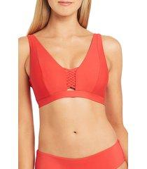 sea level macrame trim d- & dd-cup underwire bralette bikini top, size 10 us in orange at nordstrom