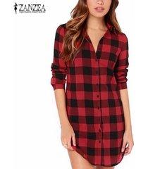 otoño zanzea mujeres vintage camisas a cuadros casual solapa suelta botones de manga larga blusas tops outwear largo ee. uu. tallas grandes 4-22 (rojo) -rojo
