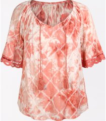 maurices womens pink tie dye embroidered trim peasant top