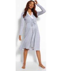 zwangerschap gestreept nachtjapon en jurk set, grijs gemêleerd