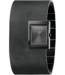 calvin klein women's offsite black pvd stainless steel mesh cuff bracelet watch 22x28mm