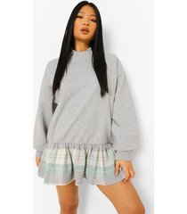 petite 2-in-1 geruite sweatshirt jurk met blouse detail, grey marl