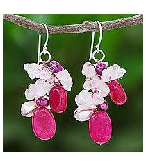 rose quartz and cultured pearl dangle earrings, 'magenta balloon' (thailand)