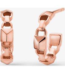 mk orecchini a cerchio piccoli in argento sterling mercer link con placcatura in metallo prezioso - oro rosa (oro rosa) - michael kors