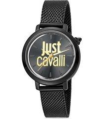 logo black stainless steel mesh bracelet watch