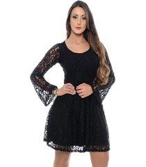 vestido b'bonnie curto em renda sara preto