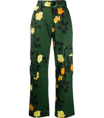 msgm belted cargo trousers - green