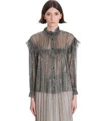 isabel marant étoile elmirae shirt in silver polyester