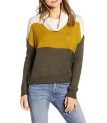 women's beachlunchlounge colorblock cowl neck sweater, size large - green
