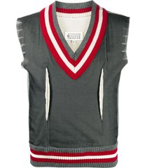 maison margiela ribbed edge vest jumper - grey