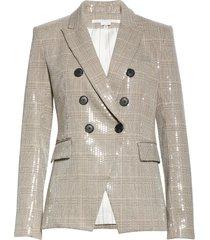 women's veronica beard miller sequin tweed cutaway dickey jacket, size 14 - beige