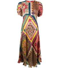 etro silk patchwork print midi dress - red