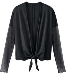 bolero-vest uit bio-zijde met transparante armen, zwart 40/42