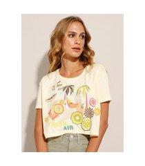 "camiseta cropped fresh air"" manga curta decote redondo bege"""