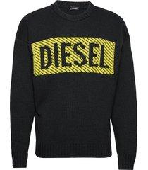 k-logox-c pullover stickad tröja m. rund krage svart diesel men