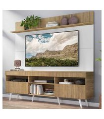 """rack com painel tv 65"""" madri multimóveis rustic/branco com prateleira e pés retrô branco"""