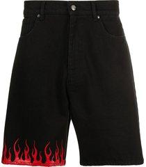 vision of super flame print shorts - black