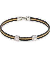 alor women's 18k white gold, stainless steel & diamond bracelet