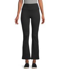 nine west women's cropped flare track pants - jet black - size l
