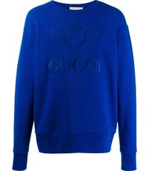 gucci tennis embroidered sweatshirt - blue