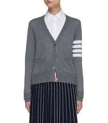 stripe sleeve merino wool cardigan