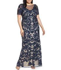 plus size women's js collections illusion soutache column gown, size 24w - blue