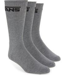 men's vans 3-pack classic crew socks, size one size - grey