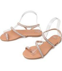 sandalias de perlas planas de las mujeres