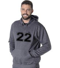 moletom blusão flanelado suffix fechado liso com capuz bolso canguru cinza escuro chumbo estampa 22
