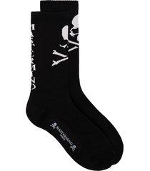 mastermind japan black logo print cotton blend socks