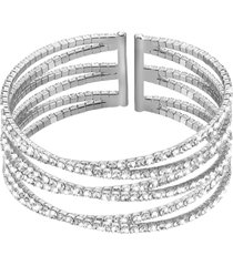 bracciale bangle in metallo rodiato e cristalli per donna
