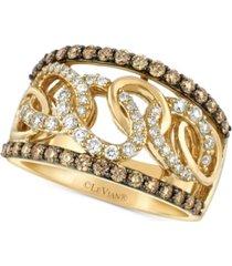 le vian chocolatier diamond chain link statement ring (1 ct. t.w.) in 14k gold