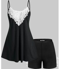 plus size lace panel tied two piece pajama shorts set