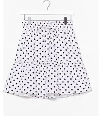 womens you've polka dot moves tiered mini skirt - white