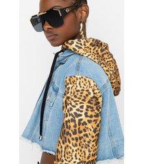 akira live to dream cheetah hoodie denim jacket