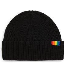 women's kurt geiger london rainbow shop rainbow patch beanie, size one size - black